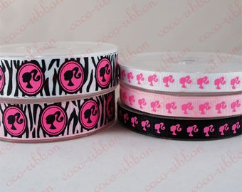 10 yard 3/8~7/8 inch 9mm~22mm Ponytail Girl Silhouette Zebra Grosgrain Ribbon