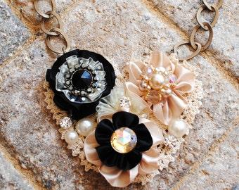 Black and Cream Lace Floral Swarovski Crystal Pearl Bib Necklace