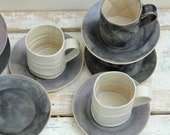 cream and grey textured mugs 2 and saucers lovely size for coffee lovers