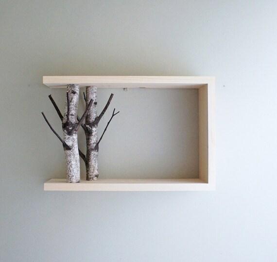 White Birch Forest Wall Art Shelf 18x12 Birch Branch