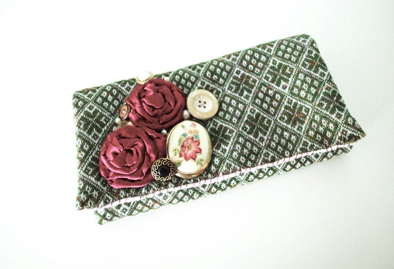 Forest Green Diamond Print Vintage Fabric Wallet Clutch with Rosettes, Buttons, and Locket