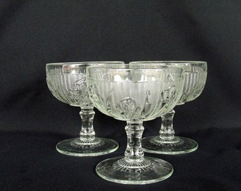 Vintage Iris and Herringbone by Jeannette Glass 3 Tall Sherbets Footed Crystal Sherbets