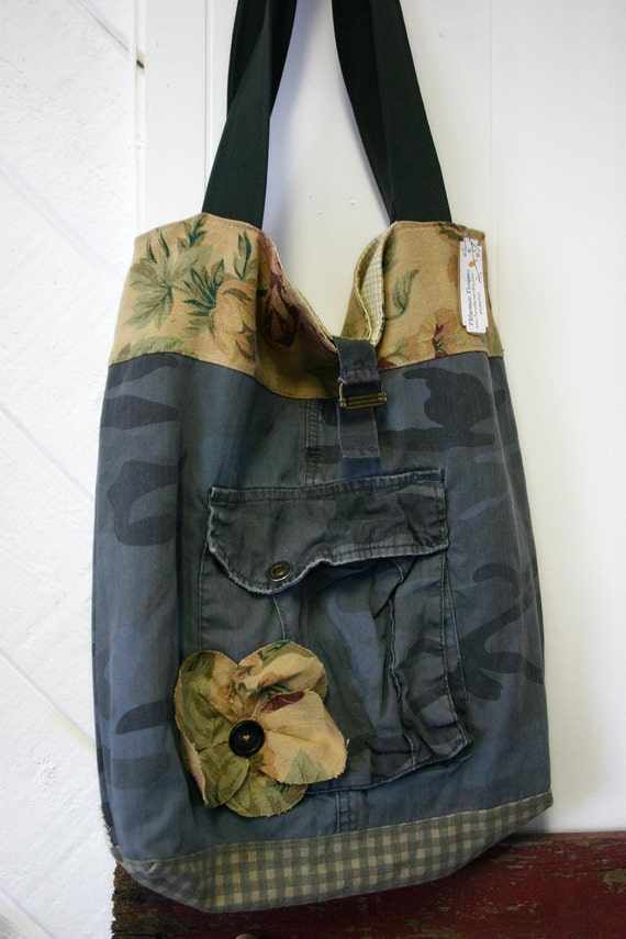 Upcycled cargo and shabby floral linen tote bag purse diaper bag - The Camo