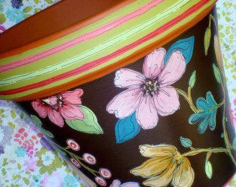 """Hand Painted Flower Pot 8 Inch- """"Chocolate Floral""""- Made to Order"""