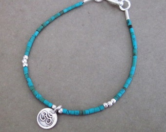 Turquoise bracelet Silver beads Charm Tibet mantra OM  /  7 inches long ready to send  / silver 925
