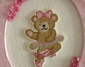 Teddy Bear Ballerina // Wall Hanging // Needle Punch // Free Shipping in USA