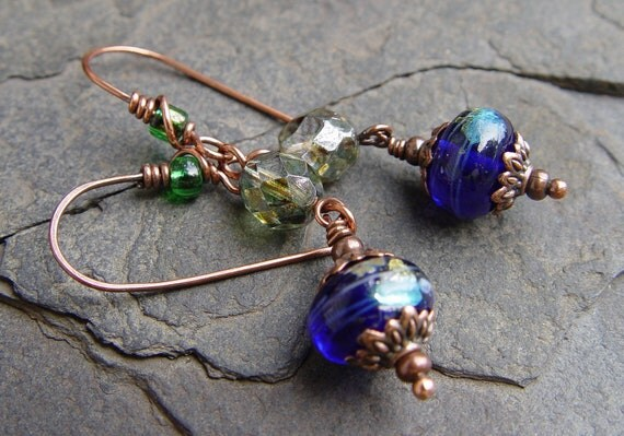 Handmade Cobalt Blue Silver Foil Lamp Work Beads and Copper Earrings Movement Dangles