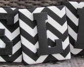 Framed Monogram, 6x7, Black Chevron Letters, Wall Letters, Monogram, Painted Letters, Personalized Nursery Decor