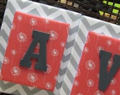 Stacked Letters, 11x14, Coral Nursery Letters, Gray Nursery Letters,Chevron Painted Letters, Name Plaque, Wood Letters