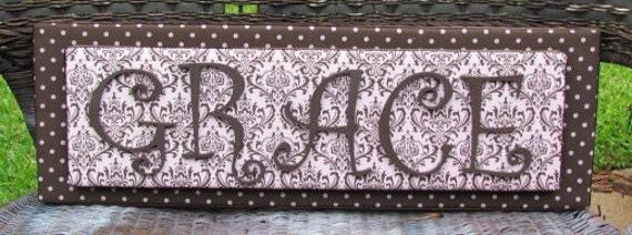 Light Pink and Brown Damask Dot Stacked Name Plaque,  2-6 Letters, Wall Letters, Painted Letters, Wood Letters,