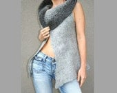 Nuno felted vest Gray - eco - size s-m - wool - handmade - weste - tunic - autumn fall fashion