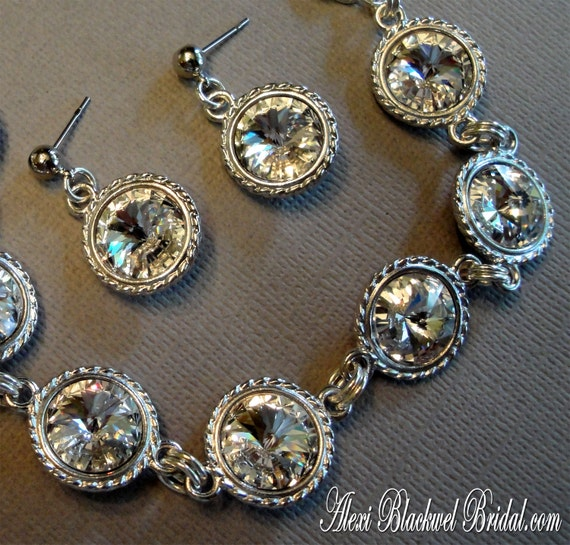 Bridal Bracelet Set with Earrings Swarovski Crystal Rivoli Rhinestones in Silver tone an affordable bridesmaid mother of the bride gifts