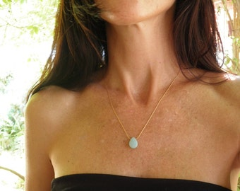 Tiny Teal Necklace, Amazonite Blue Teardrop Necklace, 14K Gold Filled Necklace, Minimalist Pendant, Beautiful Delicate, Gift For Her