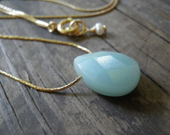 Tiny Teal Amazonite Blue Teardrop Necklace, 14K Gold Filled Necklace, Minimalist Pendant, Beautiful Delicate, Fall Fashion, Gift For Her