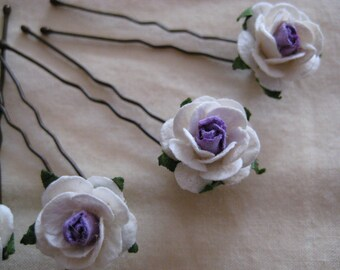 Ivory/Violet Rose Hairpins x 8. HANDMADE.