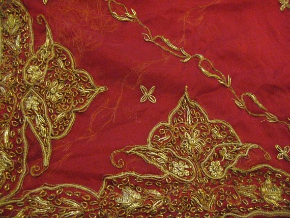 Antique Indian Shawl/Stole. Regency Style MUST SEE. Red Silk Chiffon. Hand embroidered in gold metal threadwork/beading.