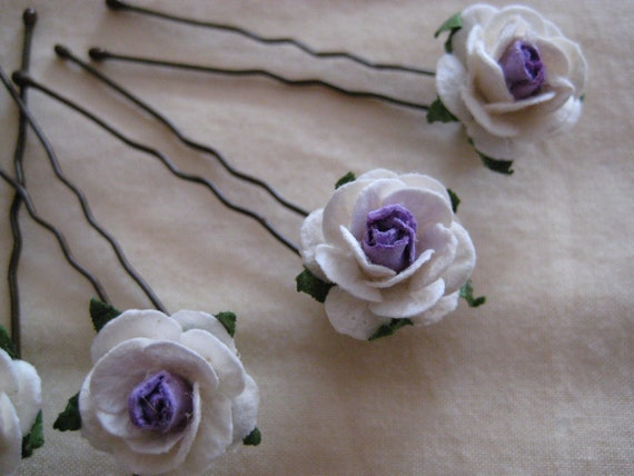 Ivory/Violet Rose Hairpins x 8. Paper. Wedding, Bridal, Regency, Victorian