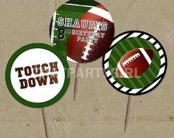 DIY Football Birthday Party Favor Tags Cup Cake Toppers - Digital U Print