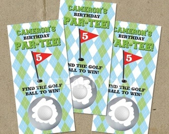 12 Golf PAR-TEE Birthday Party Scratch Off Game Cards