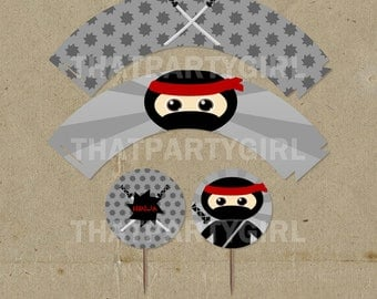 Ninja Cup Cake Wrappers and Toppers - DIY Digital U Print - Instant Download