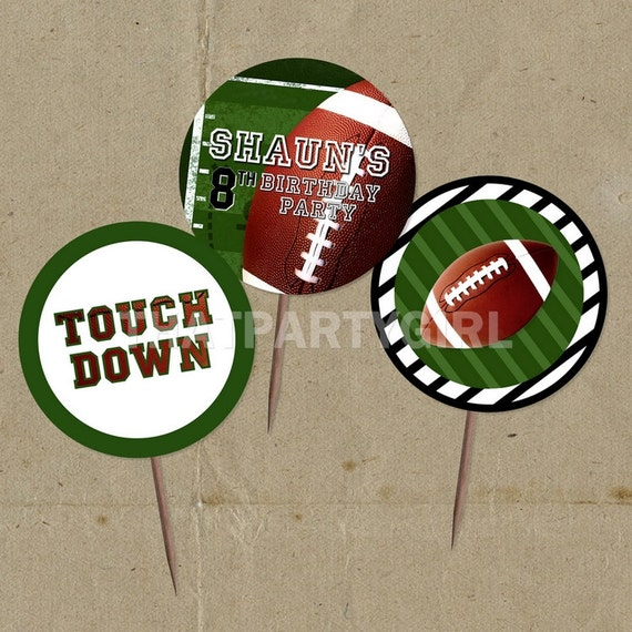 DIY Football Birthday Party Favor Tags Cup Cake Toppers