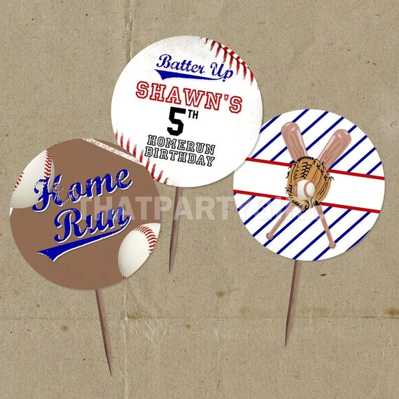 DIY Baseball Birthday Party Favor Tags Cup Cake Toppers