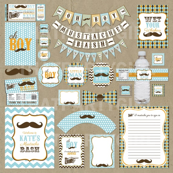 Mustache Bash Little Man Party Package Invitations