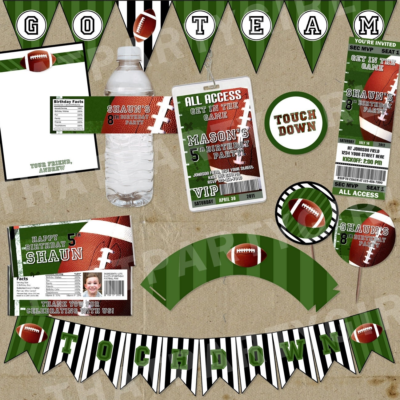 DIY Football Birthday Party Water Bottle Labels By