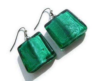 Teal Earrings - Teal Green Drop Earrings - Fused Glass Square Bead Earrings - Emerald Green Jewelry Set