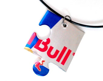 Recycled Jewelry Guy Gift Teen Boy Jewelry Teen Boy Gift Large **Red Bull Recycled Aluminum Can Puzzle Piece - N85