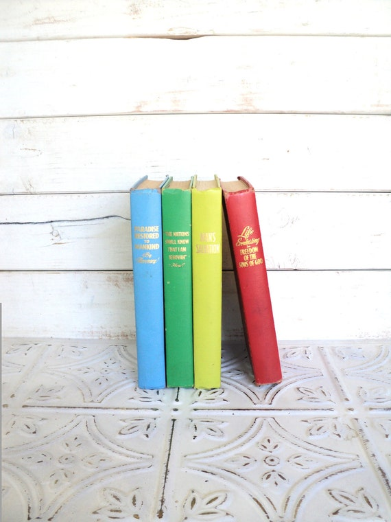 Primary Instant Library Collection Decorative Books Photography Props Blue Green Aqua Red Yellow Watchtower
