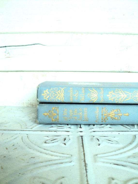 Light Blue Instant Library Collection Decorative Books Photography Props Ornate Antique Gold Myrtle Reed