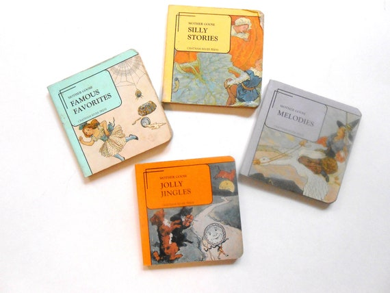 Vintage Children's Books, Mother Goose Miniature Board Books, Set of Four, Chatham River Press