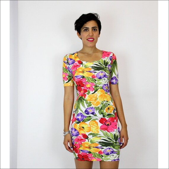 SALE tropical floral print bodycon dress S/M