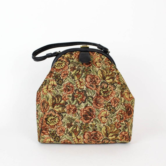 SALE tapestry rose fabric handbag  / rococo purse