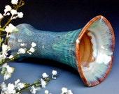 Flared Flower Vase Pottery Ocean Green B