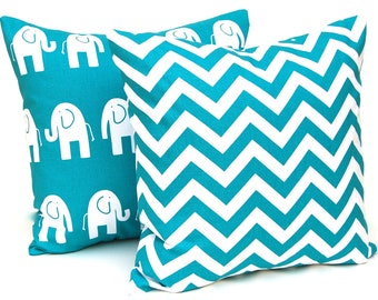 Turquoise Pillow Covers - Decorative Pillow Covers - Turquoise Chevron and Elephant - Nursery Decor - Turquoise Nursery - Animal Pillow