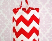 Fabric Plastic Bag Holder -Red Chevron