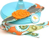 Adult or Child Fabric Flower Head Wrap, Tie, Sash, Headband, With Rose Flower in Amy Butler Belle French Wallpaper Orange