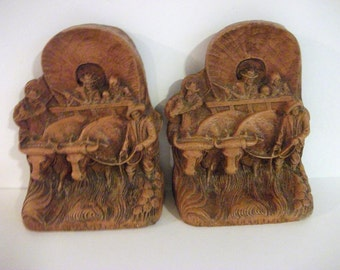 Vintage Wagon Train  Western Bookends