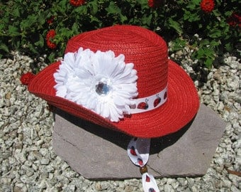 Cowgirl Hat -  Red and White with Lady Bugs - Girls Cowboy Hat - Girls Western Theme Party - Style CB50