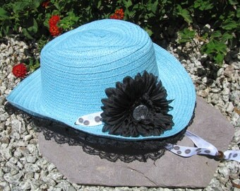 Cowgirl Hat -  Turquoise, Black and White - Girls Cowboy Hat - Girls - Style CB52