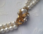1950's Double Strand Faux Pearl Necklace with Ornate Clasp