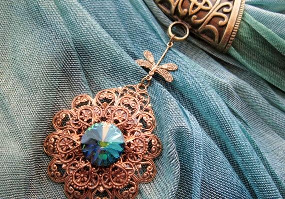 SCARF BAIL NECKLACE Scarf jewelry Green Sphinx