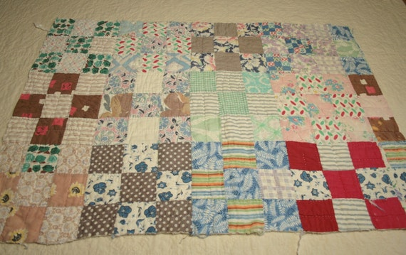 Primitive Make-Do Nine Patch Vintage Cutter Quilt Piece - 31 x 21 Inches