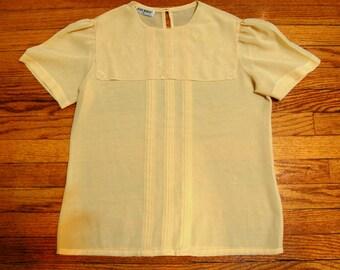 SALE M/L Vintage 80s Sheer Yellow Bibbed Blouse