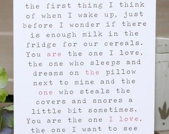 Greetings Card - 'The One I Love'