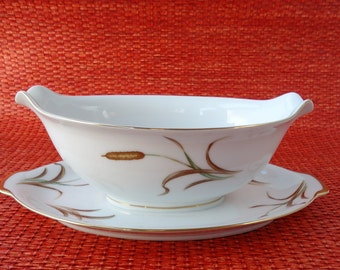 Sango September Song Cattail Gravy Boat, Gravy Bowl With Attached Underplate