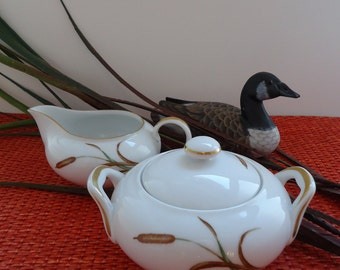 Sango September Song Cattail Sugar and Creamer Set, Autumn, Fall China Pattern