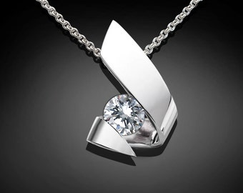 silver necklace, CZ pendant, wedding necklace, modern jewelry, Argentium silver, eco-friendly, tension set, diamond substitute - 3440